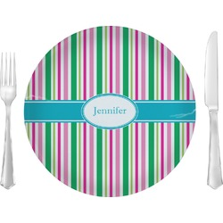 "Grosgrain Stripe 10"" Glass Lunch / Dinner Plates - Single or Set (Personalized)"