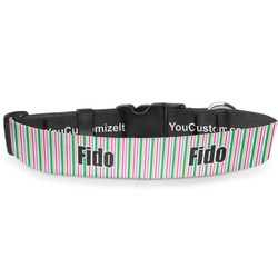 """Grosgrain Stripe Deluxe Dog Collar - Large (13"""" to 21"""") (Personalized)"""
