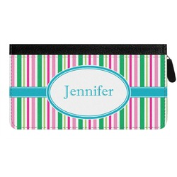 Grosgrain Stripe Genuine Leather Ladies Zippered Wallet (Personalized)