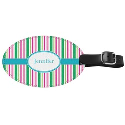 Grosgrain Stripe Genuine Leather Luggage Tag (Personalized)