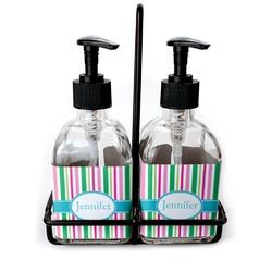 Grosgrain Stripe Glass Soap & Lotion Bottles (Personalized)