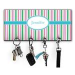 Grosgrain Stripe Key Hanger w/ 4 Hooks w/ Name or Text
