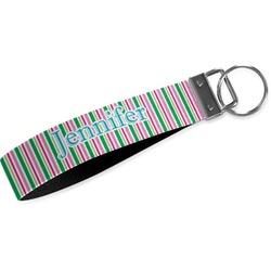 Grosgrain Stripe Wristlet Webbing Keychain Fob (Personalized)