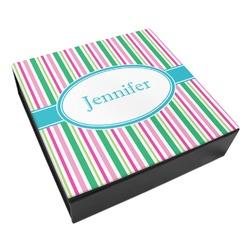 Grosgrain Stripe Leatherette Keepsake Box - 3 Sizes (Personalized)