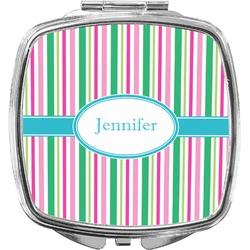 Grosgrain Stripe Compact Makeup Mirror (Personalized)