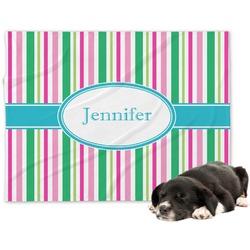 Grosgrain Stripe Minky Dog Blanket - Large  (Personalized)