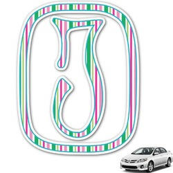 Grosgrain Stripe Monogram Car Decal (Personalized)