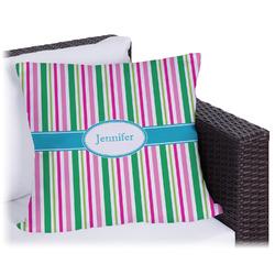 Grosgrain Stripe Outdoor Pillow (Personalized)