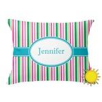Grosgrain Stripe Outdoor Throw Pillow (Rectangular) (Personalized)