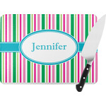 Grosgrain Stripe Rectangular Glass Cutting Board (Personalized)