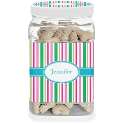 Grosgrain Stripe Pet Treat Jar (Personalized)
