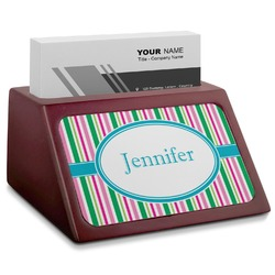 Grosgrain Stripe Red Mahogany Business Card Holder (Personalized)