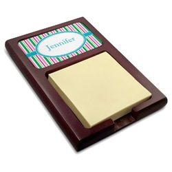 Grosgrain Stripe Red Mahogany Sticky Note Holder (Personalized)