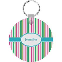 Grosgrain Stripe Round Plastic Keychain (Personalized)