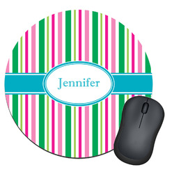 Grosgrain Stripe Round Mouse Pad (Personalized)