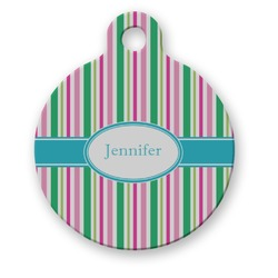 Grosgrain Stripe Round Pet Tag (Personalized)