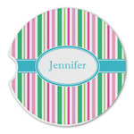 Grosgrain Stripe Sandstone Car Coasters (Personalized)