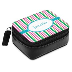 Grosgrain Stripe Small Leatherette Travel Pill Case (Personalized)