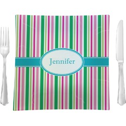 """Grosgrain Stripe 9.5"""" Glass Square Lunch / Dinner Plate- Single or Set of 4 (Personalized)"""