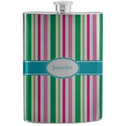Grosgrain Stripe Stainless Steel Flask (Personalized)