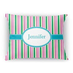 Grosgrain Stripe Rectangular Throw Pillow Case (Personalized)