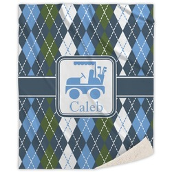 Blue Argyle Sherpa Throw Blanket (Personalized)