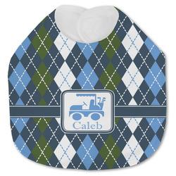 Blue Argyle Jersey Knit Baby Bib w/ Name or Text