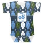 Blue Argyle Baby Bodysuit (Personalized)