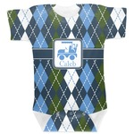 Blue Argyle Baby Bodysuit (Personalized)