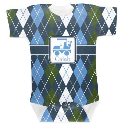 Blue Argyle Baby Bodysuit 6-12 (Personalized)