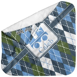 Blue Argyle Baby Hooded Towel (Personalized)