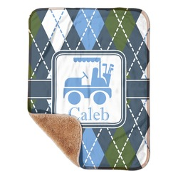 "Blue Argyle Sherpa Baby Blanket 30"" x 40"" (Personalized)"