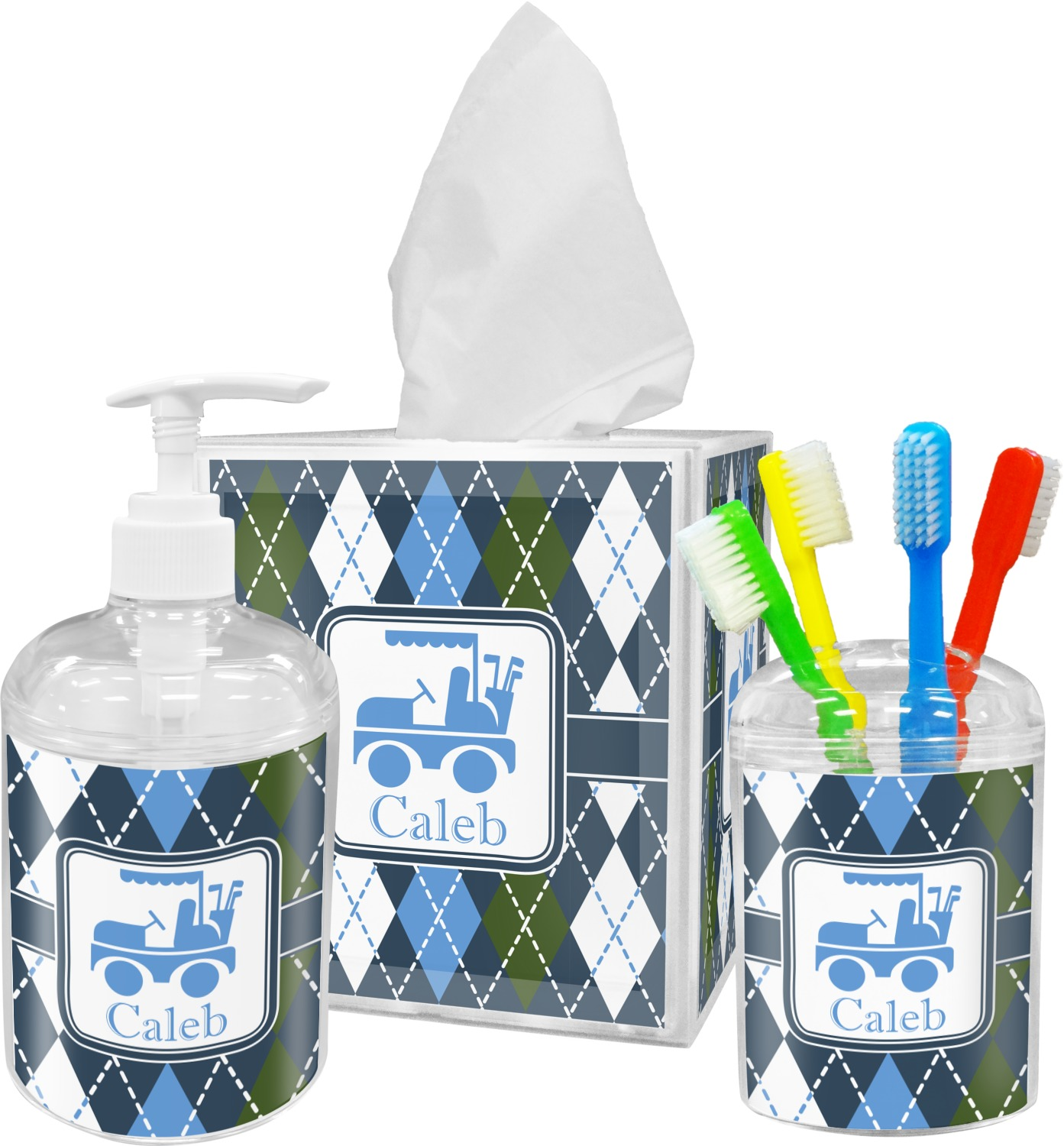Blue argyle bathroom accessories set personalized - Monogrammed bathroom accessories ...