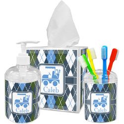 Blue Argyle Bathroom Accessories Set (Personalized)