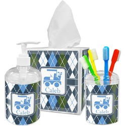 Blue Argyle Bathroom Accessories Set (Personalized)