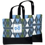 Blue Argyle Beach Tote Bag (Personalized)
