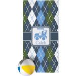 Blue Argyle Beach Towel (Personalized)
