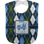 Blue Argyle Baby Bib (Personalized)
