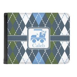 Blue Argyle Genuine Leather Men's Bi-fold Wallet (Personalized)