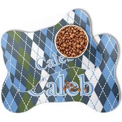 Blue Argyle Bone Shaped Dog Food Mat (Personalized)