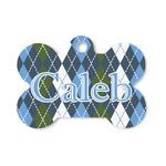 Blue Argyle Bone Shaped Dog ID Tag (Personalized)