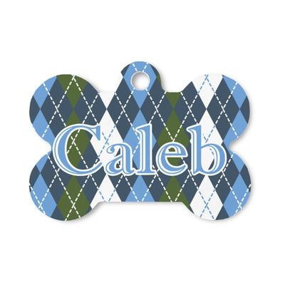 Blue Argyle Bone Shaped Dog Tag (Personalized)