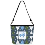 Blue Argyle Bucket Bag w/ Genuine Leather Trim (Personalized)
