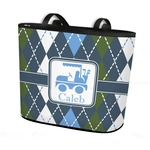 Blue Argyle Bucket Tote w/ Genuine Leather Trim (Personalized)