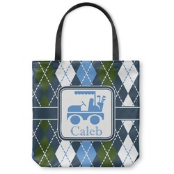 Blue Argyle Canvas Tote Bag (Personalized)