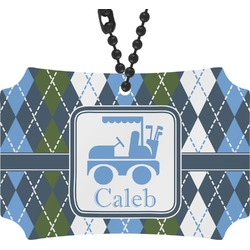 Blue Argyle Rear View Mirror Ornament (Personalized)
