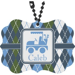 Blue Argyle Rear View Mirror Charm (Personalized)