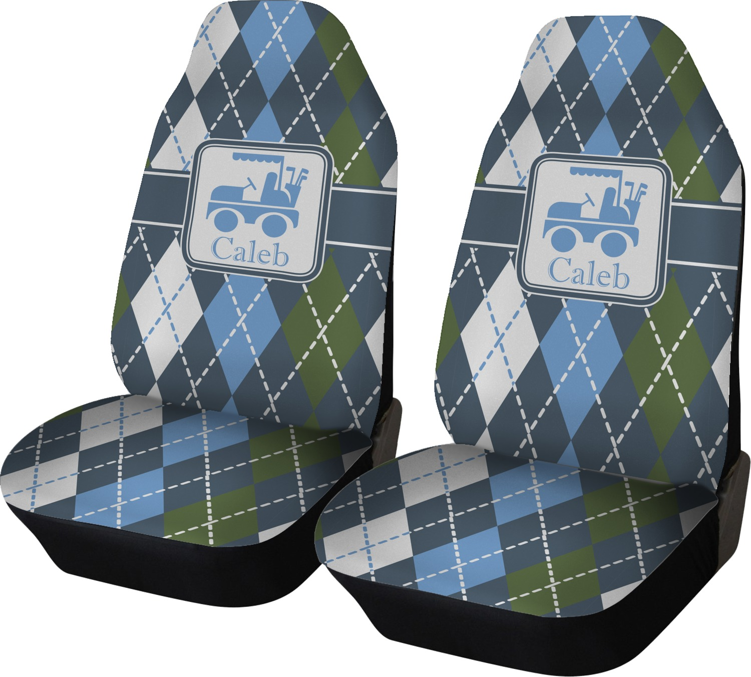 Blue Argyle Car Seat Covers Set Of Two Personalized