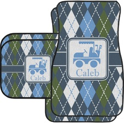 Blue Argyle Car Floor Mats Set - 2 Front & 2 Back (Personalized)