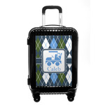 Blue Argyle Carry On Hard Shell Suitcase w/ Name or Text
